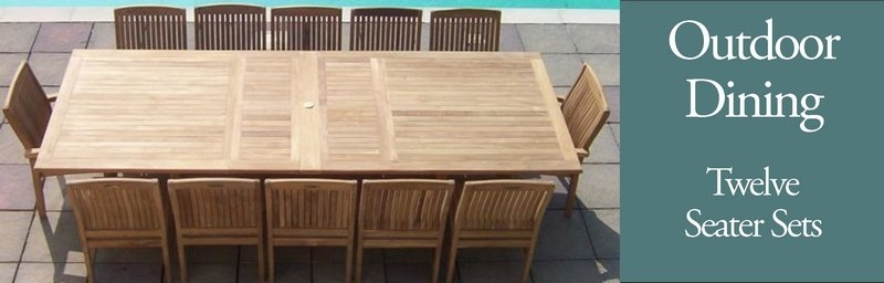 Seat Teak Patio Furniture Dining Set Sustainable Furniture - 12 seater solid wood dining table