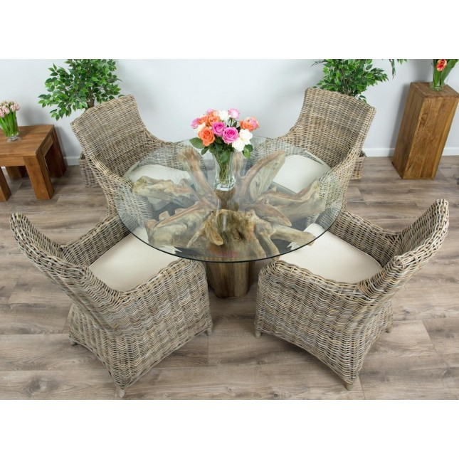 1.2m Reclaimed Teak Flute Root Circular Dining Table with 4 Donna Dining Chairs