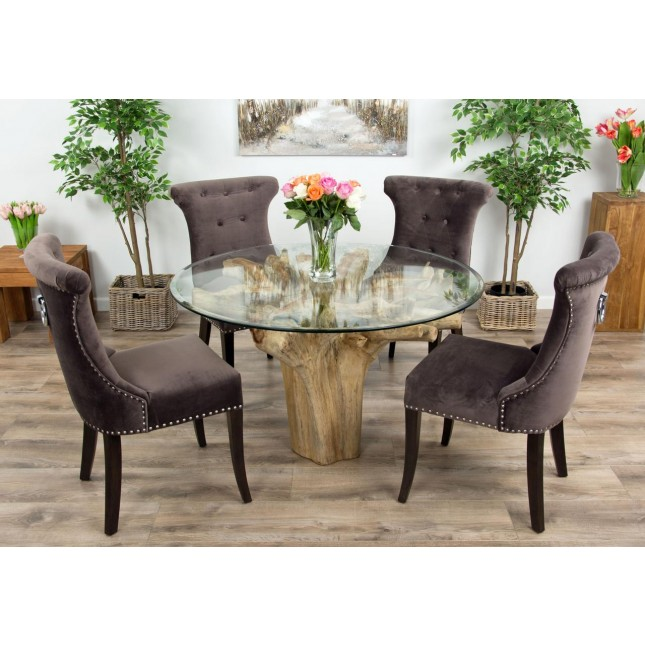 1.2m Reclaimed Teak Flute Root Circular Dining Table with 4 or 6 Velveteen Ring Back Dining Chairs