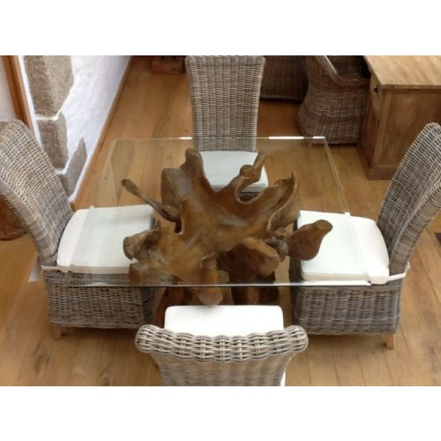 1.2m Square Reclaimed Teak Root Dining Table with 4 Latifa Chairs