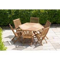 1.2m Hexagonal Teak Folding Table with 6 Kiffa Folding Armchairs