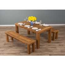 1.6m Mexico Reclaimed Teak Dining Table with 2 Mexico Backless Benches