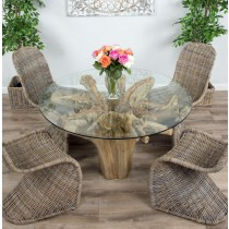 1.2m Reclaimed Teak Flute Root Circular Dining Table with 4 or 6 Stackable Zorro Chairs