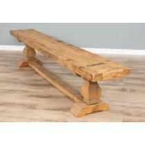 235cm Reclaimed Elm Pedestal Dining Bench