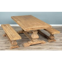 2m Reclaimed Elm Pedestal Dining Table with 2 Elm Pedestal Benches