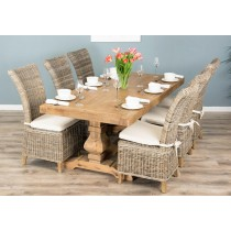 2m Reclaimed Elm Pedestal Dining Table with 6 Latifa chairs
