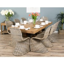 2m Reclaimed Elm Pedestal Dining Table with 8 Stackable Zorro Chairs