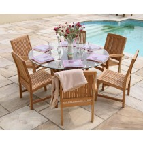 Teak Root Garden Dining Table with Marley Dining Chairs