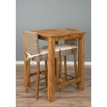 Reclaimed Teak Square Bar Table with 2 Kubu Stools