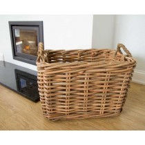 Large Rectangular Wicker Log Basket with Rope Handles