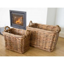 Pair of Rectangular Wicker Log Baskets with Rope Handles