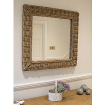 Natural Wicker Kubu Grey Square Mirror