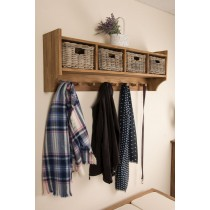 Reclaimed Teak Coat Hook Storage Unit - Four Basket