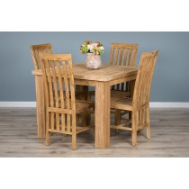 Reclaimed Teak Dining Table 1m Square and 4 Solid Teak Dining Chairs