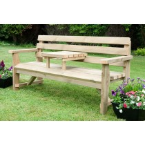 Rustic Garden Bench with Removable Drinks Table