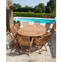 Teak Circular Double Extending Table 1.5m x 1.5m-2.3m with 10 Kiffa Folding Armchairs