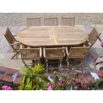 Teak 8-Seater Oval Dining set with Harrogate Armchairs