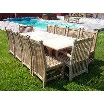 Teak 10 Seater Rect. Ext. Set