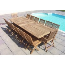 Teak 14 Seat Double Extending Set with Recliners