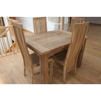 Reclaimed Teak Dining Table 120 x 80cm Rectangular Taplock + 4 Teak High Backed Vikka Chairs