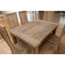 1.6m Reclaimed Teak Natural Dining Table Taplock + 6 High Backed Vikka Teak Dining Chairs