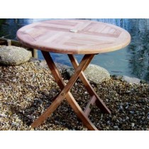80cm Circular Folding Teak Garden Table