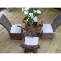 1.2m Reclaimed Teak Root Circular Dining Table with 4 Latifa Chairs