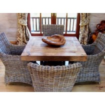 Reclaimed elm 1m Square Chunky Table and 4 Natural Wicker Donna Chairs