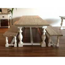 3m Ellena Shabby Chic Dining Set with DIning Benches