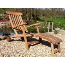 Teak Steamer Chair-Wheeled