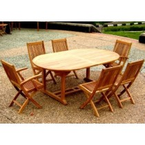 1.6m Oval Pedestal Teak Table with 6 Kiffa Folding Chairs