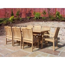 Teak 8 Seater Rectangular Table Set