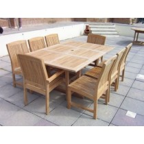 Teak 8 Seater Square Extending Marley Set