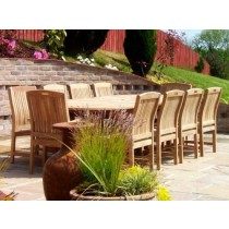 10 Seater Oval Double Extending Teak Set with Marley Teak Chairs