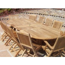 12 Seater Oval Double Extending Teak Set with Folding Chairs