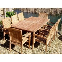 Teak 8 Seater Rectangular Set with Armchairs