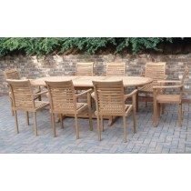Teak 8 Seater Oval Extending/Stacking Chair Set
