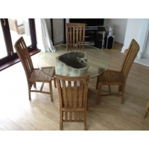 1.2m Java Root Dining Table with 4 Santos Chairs