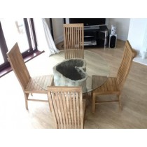 1.2 Java Root Dining Table with 4 Vikka Chairs