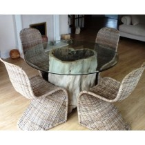 1.2m Java Root Dining Table with 4 Stackable Zorro Chairs