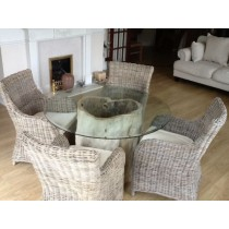 1.2m Java Root Dining Table with 4 Donna Armchairs