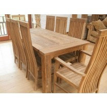 Reclaimed Teak Taplock Dining Table with 6 Vikka Chairs and 2 Vikka Armchairs