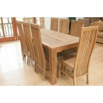 Reclaimed Teak Natural Dining Table and 8 Reclaimed Teak Vikka Chairs