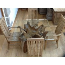1.2m Square Reclaimed Teak Root Dining Table with 2 Vikka Chairs and 2 Vikka Armchairs