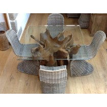 1.2m Square Reclaimed Teak Root Dining Table with 4 Zorro Chairs