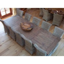 Reclaimed Teak Extending Table and Natural Wicker Chair Set