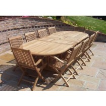 Teak 10 Seater Oval D/Ext. Set