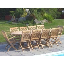 Teak 10 Seater Oval Ext. Set
