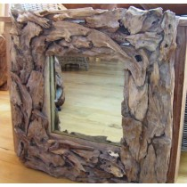 Reclaimed Teak Root Square Mirror