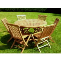 1.2m Teak Circular Folding Table with 6 Kiffa Folding Chairs